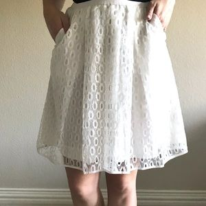 Anthropologie Maeve Pleated Lace Skirt